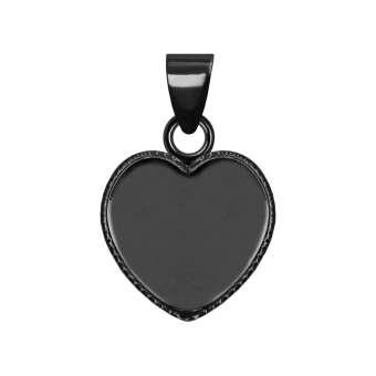 Anhänger Halter für Ø 12X12 mm große Cabochons Herzen, schwarz silberfarben schwarz silber