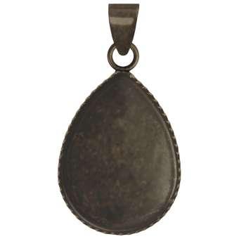 Anhänger Halter für Ø 13X18 mm große Cabochons tropfen, bronzefarben bronze
