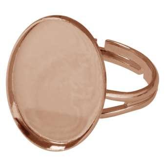 Ring für Ø 13X18 mm große, ovale Cabochons, roségoldfarben roségold