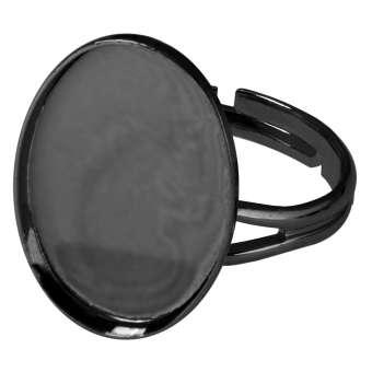 Ring für Ø 13X18 mm große, ovale Cabochons, schwarz silberfarben schwarz silber
