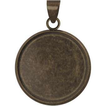 Anhänger Halter für Ø 18 mm große Cabochons, bronzefarben bronze