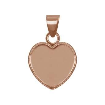 Anhänger Halter für Ø 12X12 mm große Cabochons Herzen, roségoldfarben roségold