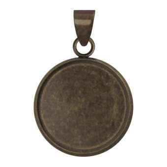 Anhänger Halter für Ø 14 mm große Cabochons, bronzefarben bronze