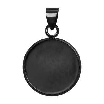Anhänger Halter für Ø 14 mm große Cabochons, schwarz silberfarben schwarz silber