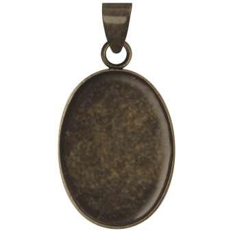 Anhänger Halter für Ø 13X18 mm große, ovale Cabochons, bronzefarben bronze