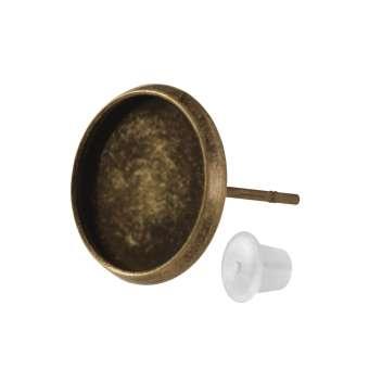 Ohrstecker für Ø 12 mm große Cabochons, bronzefarben bronze