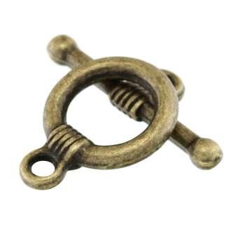 Knebelverschluss, 20X14mm, bronzefarben bronzefarben
