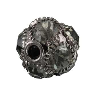 Strassperle, 13X12mm, rund, dunkel-silber, crystal satin dunkel-silber, crystal satin