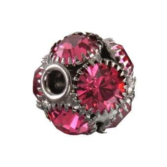 Strassperle, 13X12mm, rund, dunkel-silber, pink dunkel-silber, pink