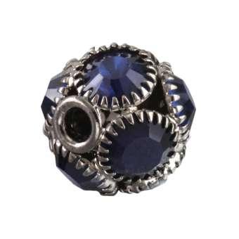 Strassperle, 13X12mm, rund, dunkel-silber, blau dunkel-silber, blau