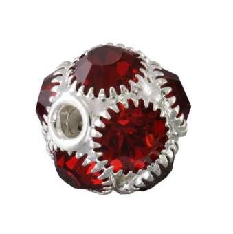 Strassperle, 13X12mm, rund, silberfarben, rot silberfarben, rot