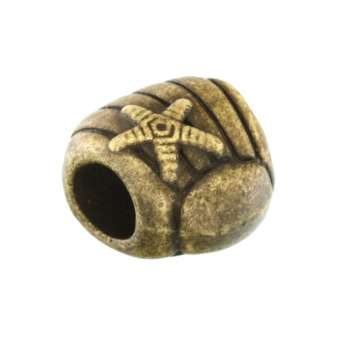 Großlochperle aus Metall, 11X12mm, Muschel, bronzefarben bronzefarben