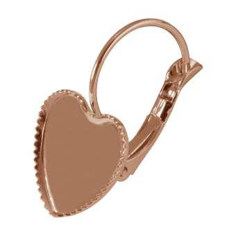 Ohrhaken für Ø 12X12 mm große Cabochons Herzen, roségoldfarben
