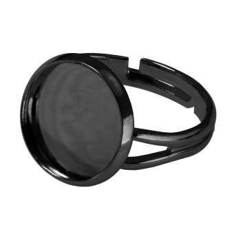 Ring für Ø 12 mm große Cabochons, schwarz silberfarben schwarz silber