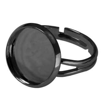Ring für Ø 14 mm große Cabochons, schwarz silberfarben schwarz silber
