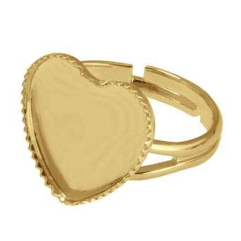 Ring für Ø 12X12 mm große Cabochons Herzen, roségoldfarben roségold