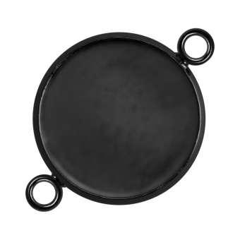 Anhänger Halter für Ø 16 mm große Cabochons, schwarz silberfarben schwarz silber