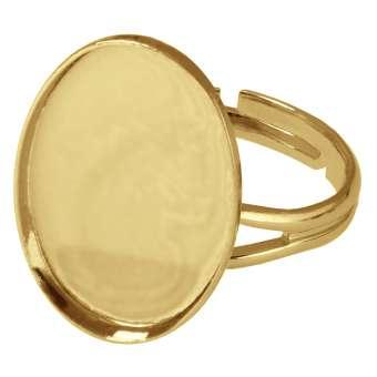 Ring für Ø 13X18 mm große, ovale Cabochons, goldfarben gold