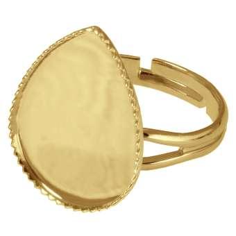 Ring für Ø 13X18 mm große Cabochons tropfen, goldfarben gold