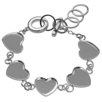 Armband für Ø fünf 12X12 mm große Cabochons Herzen, silberfarben