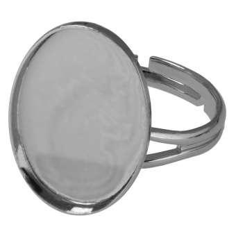 Ring für Ø 13X18 mm große, ovale Cabochons, silberfarben silber