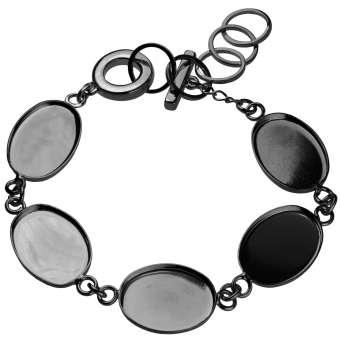 Armband für Ø fünf 13X18 mm große, ovale Cabochons, schwarz silberfarben schwarz silber