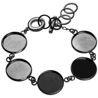 Armband für Ø fünf 18 mm große Cabochons, schwarz silberfarben