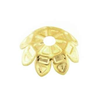 Perlenkappe, 11mm, rund, hellgoldfarben hellgoldfarben