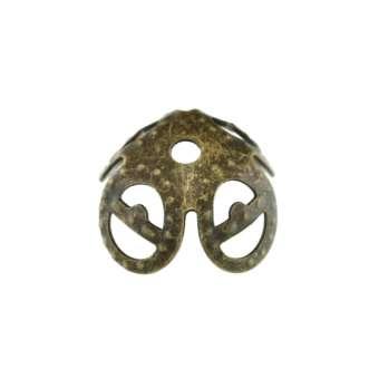 Perlenkappe, 8mm, rund, bronzefarben bronzefarben