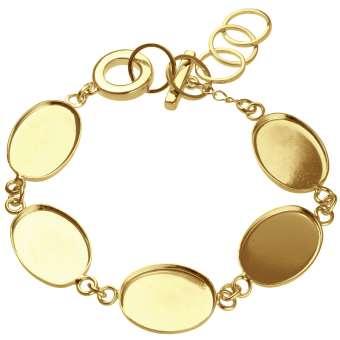 Armband für Ø fünf 13X18 mm große, ovale Cabochons, goldfarben gold