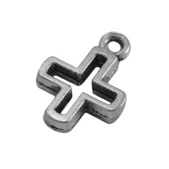 Kreuz-Anhänger Metall, 14 mm, silberfarben