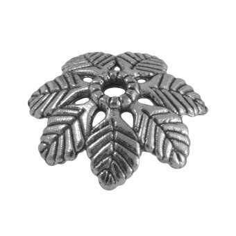Perlenkappe mit Blättern, 15mm, silberfarben