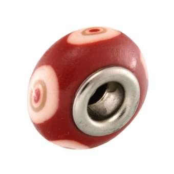 Großlochperle aus Fimo, 15X9mm, rund, rot-orange (bunt)