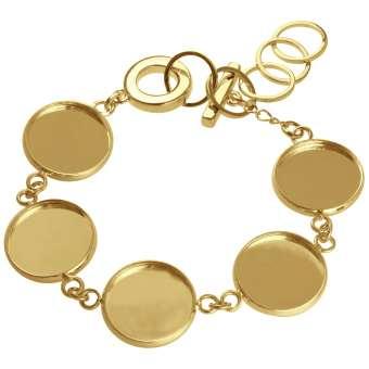 Armband für Ø fünf 16 mm große Cabochons, goldfarben gold