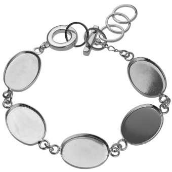 Armband für Ø fünf 13X18 mm große, ovale Cabochons, silberfarben silber