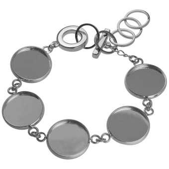 Armband für Ø fünf 16 mm große Cabochons, silberfarben silber