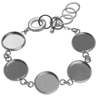 Armband für Ø fünf 14 mm große Cabochons, silberfarben silber