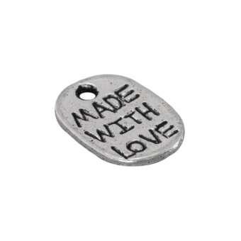 "Metallanhänger ""MADE WITH LOVE"", 12X9mm, silberfarben silberfarben"