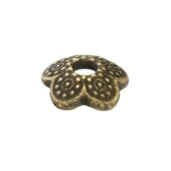 Perlenkappe, Blume, 8mm, bronzefarben bronzefarben