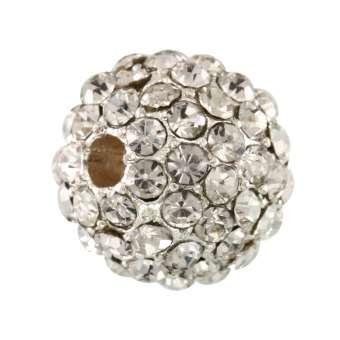 Metallperle mit Strass, 11mm, rund, transparent/ silberfarben transparent (silberfarben)