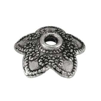 Perlenkappe, 10X10mm, Metall, silberfarben