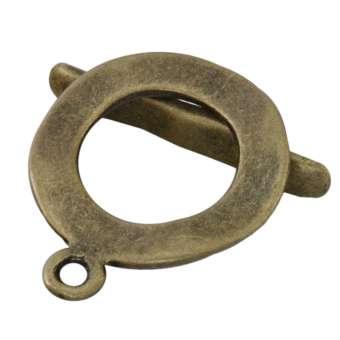 Knebelverschluß, 23X19mm, Metall, bronzefarben bronzefarben