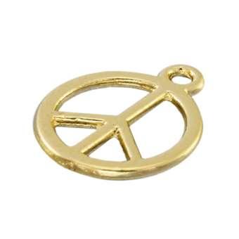 Anhänger, 15X12mm, `Peace`, Metall, goldfarben goldfarben