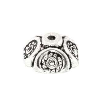 Perlenkappe mit Ornamenten, rund, 10mm, silberfarben silberfarben