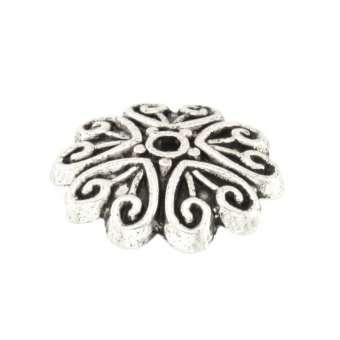 Perlenkappe mit Ornamenten, rund, 11mm, silberfarben silberfarben
