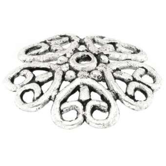 Perlenkappe mit Ornamenten, rund, 18mm, silberfarben silberfarben