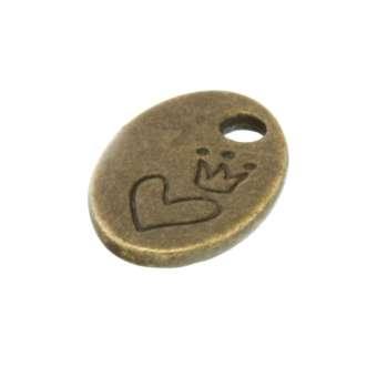 """Logo-Anhänger, """"Herz & Krone"""", oval, 13X8mm, bronzefarben bronzefarben"""