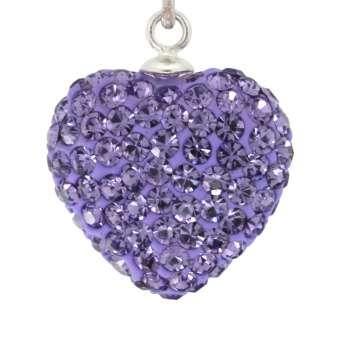 Anhänger mit ca. 155 Strass-Steinen, 15X14 mm, Herzform, violett 539 Tanzanite