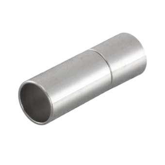 Steckverschluss, 17X6mm, Loch-Ø 5mm, Metall, silberfarben silberfarben, Loch-Ø 5mm