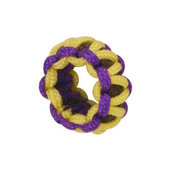 Handgefertigte Großloch-Perle, 9 mm, gelb-lila gelb-lila